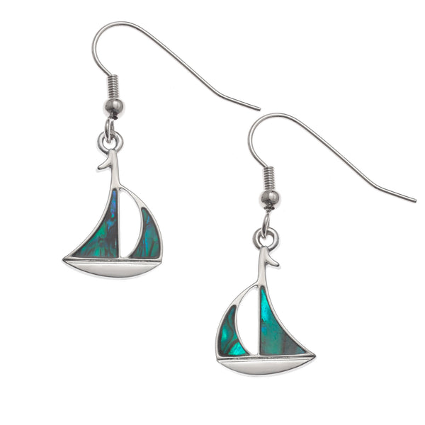 Paua Shell Sailboat Earrings
