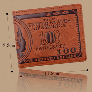 US Dollar Bill Brown PU Leather Wallet