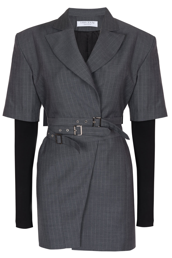 Suit dress with attached stretch sleeves