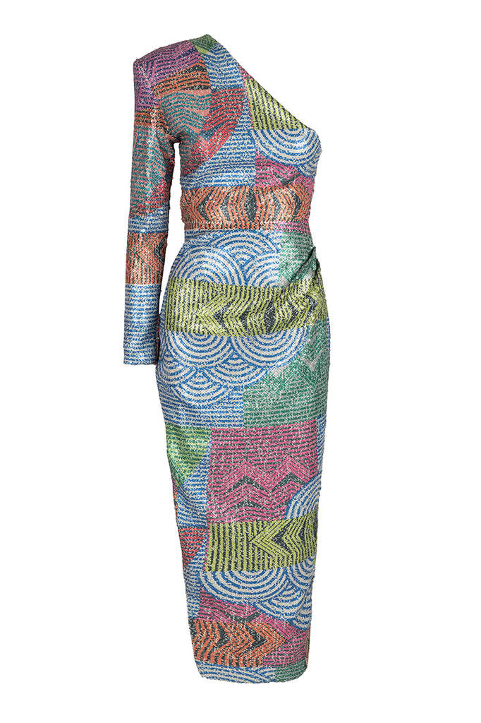 multicolored mosaic Sequin Dress