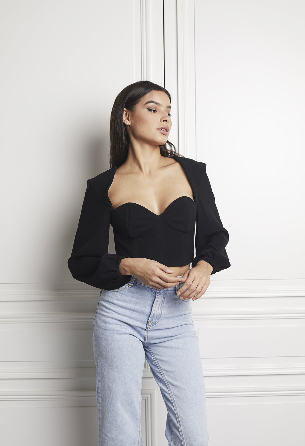 Long Sleeve Bustier Top