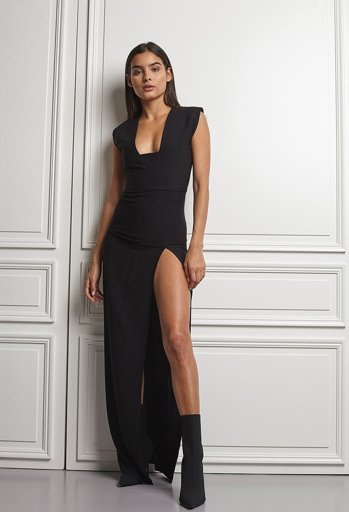 Slik Black dress with high slit