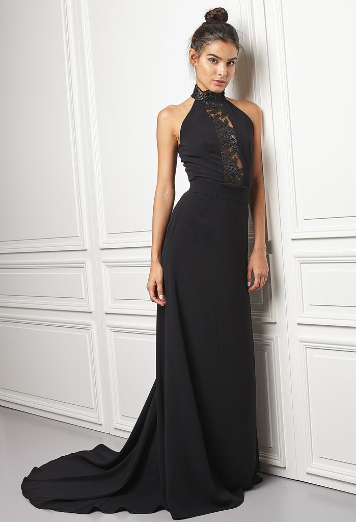 High-neck gown