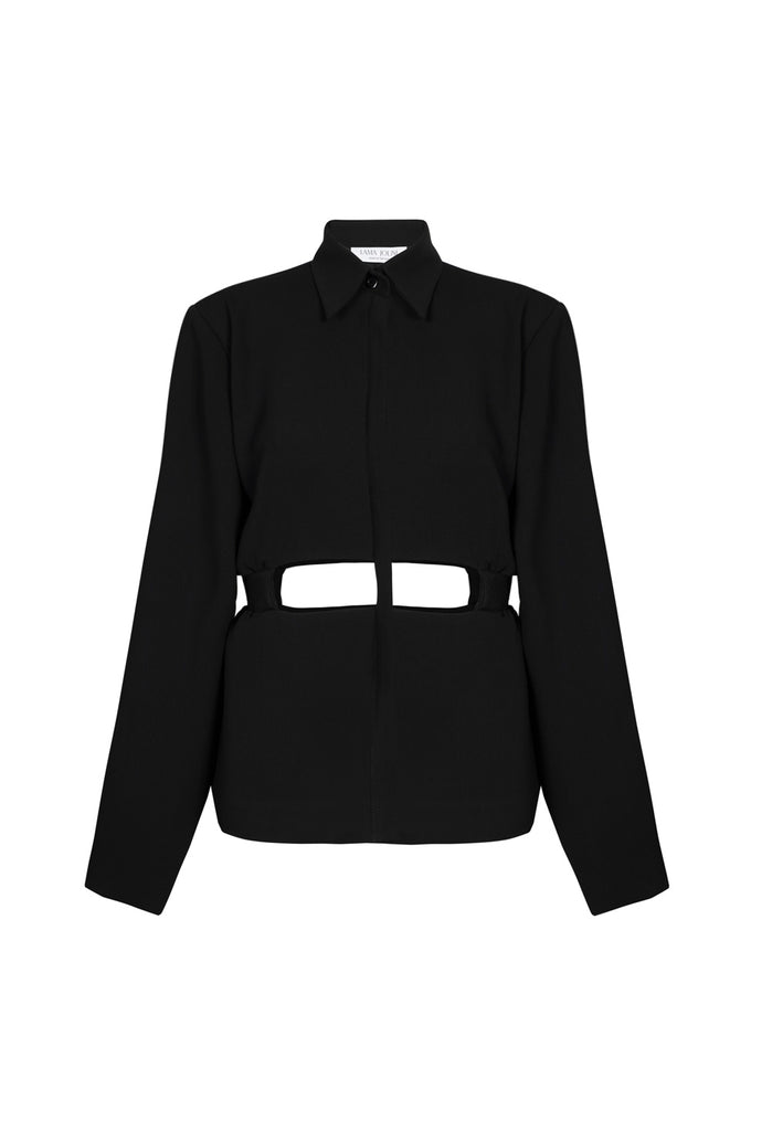 Black Shirt Suit with Cuttings