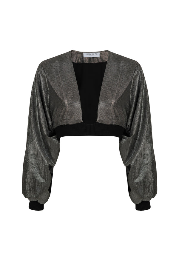Metallic Draped sleeve Crop Top