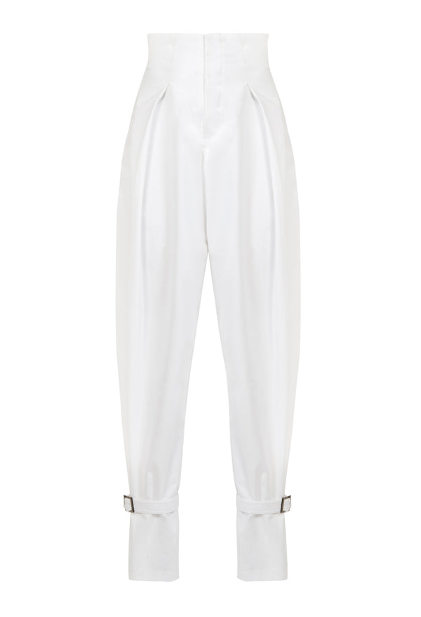 High waist pleated pants with ankle buckles