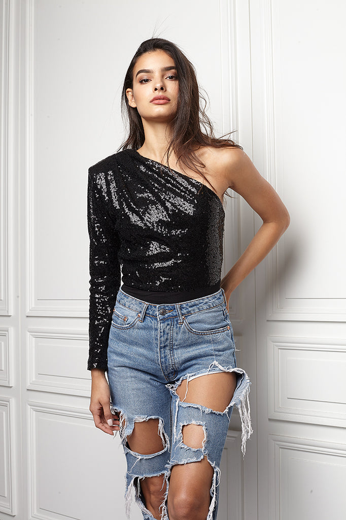 One shoulder Sequin bodysuit