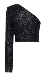 ONE SHOULDER CROPPED SEQUIN TOP