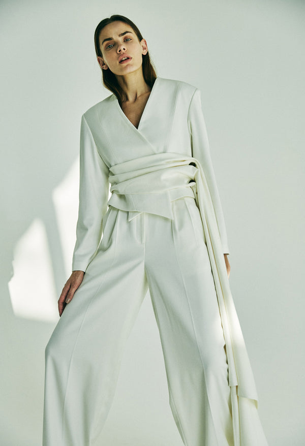 OFF-WHITE DRAPED JACKET WITH DRAPED BELT