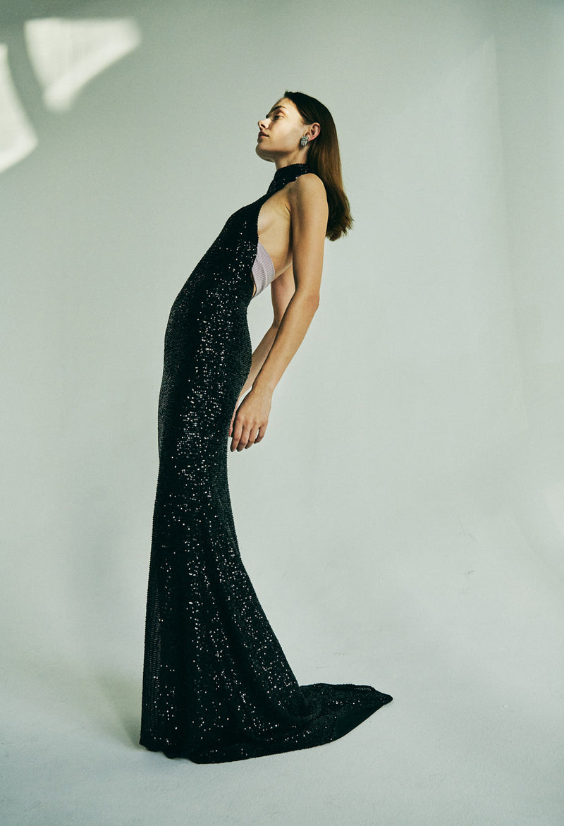 HIGH-NECK SEQUIN GOWN