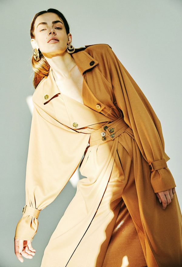 OVERSIZED TRENCH WITH DETACHABLE BELT BAG