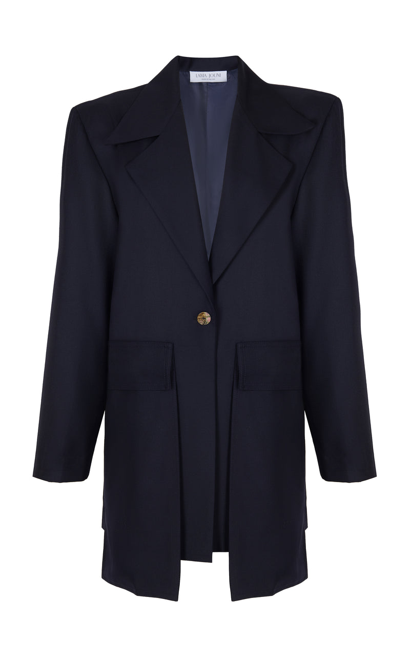 OVER-SIZED COAT WITH PATCHED POCKETS