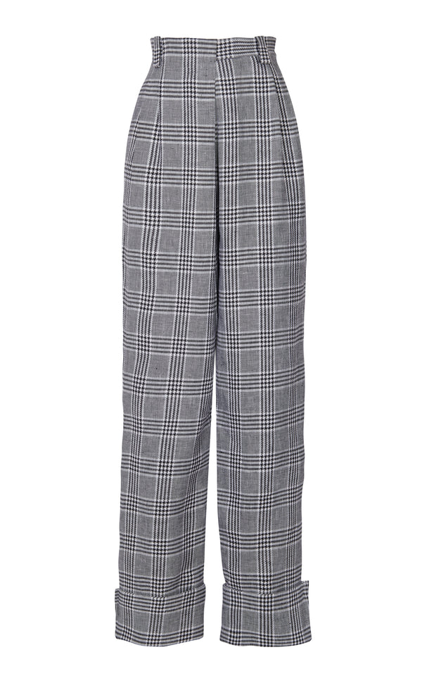 HIGH WAIST CHEQUERED DRAPED PANTS