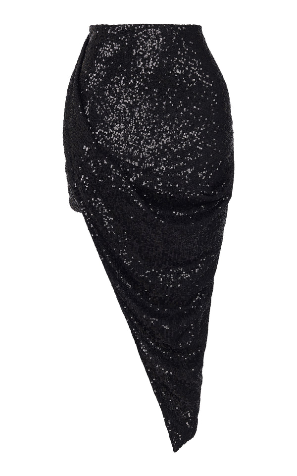 HIGH WAIST DRAPED SEQUIN SKIRT