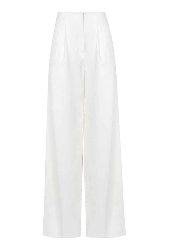 OFF-WHITE HIGH WAIST PANTS WITH DOUBLE PLEATS