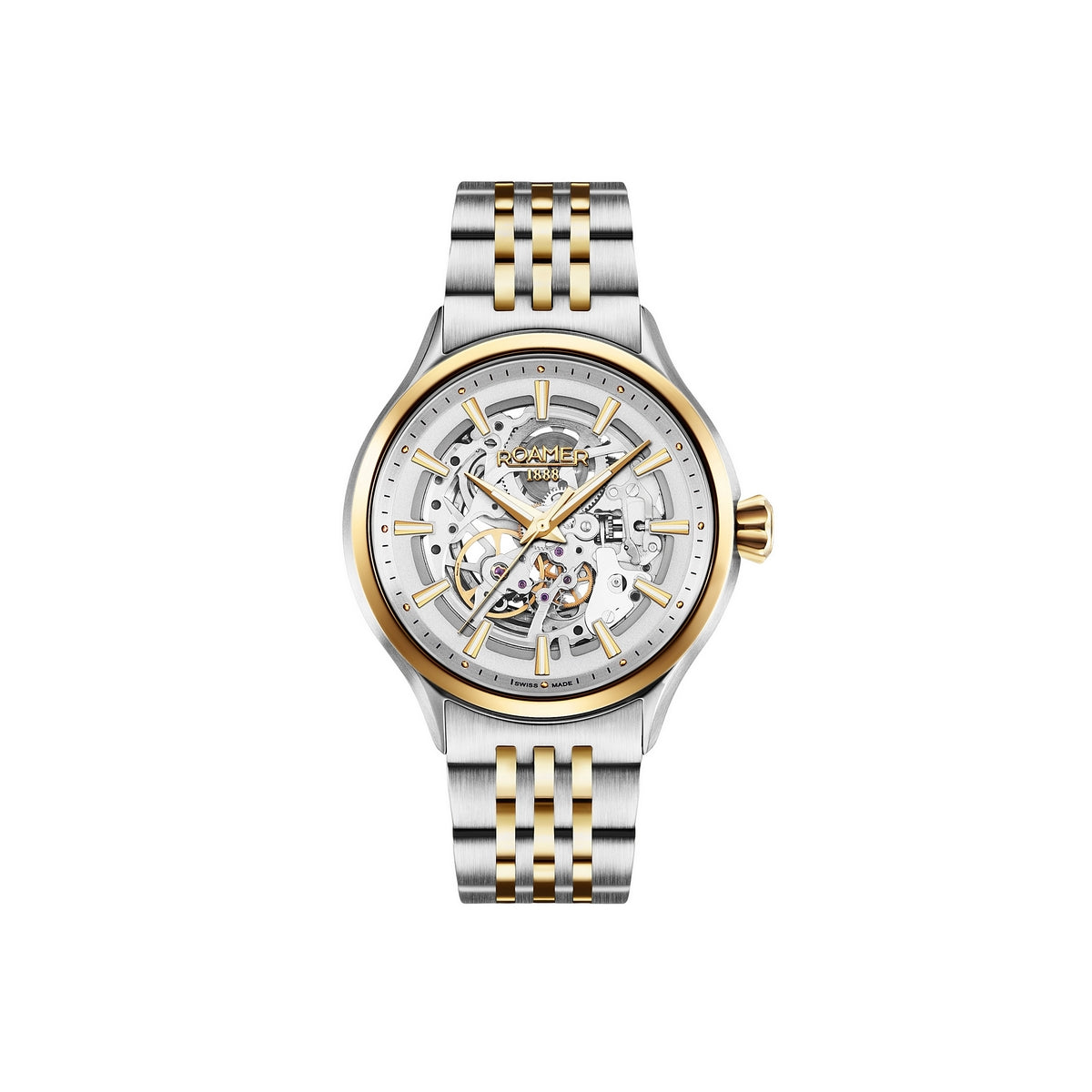 roamer skeleton 111 automatic gents two tone steel bracelet watch