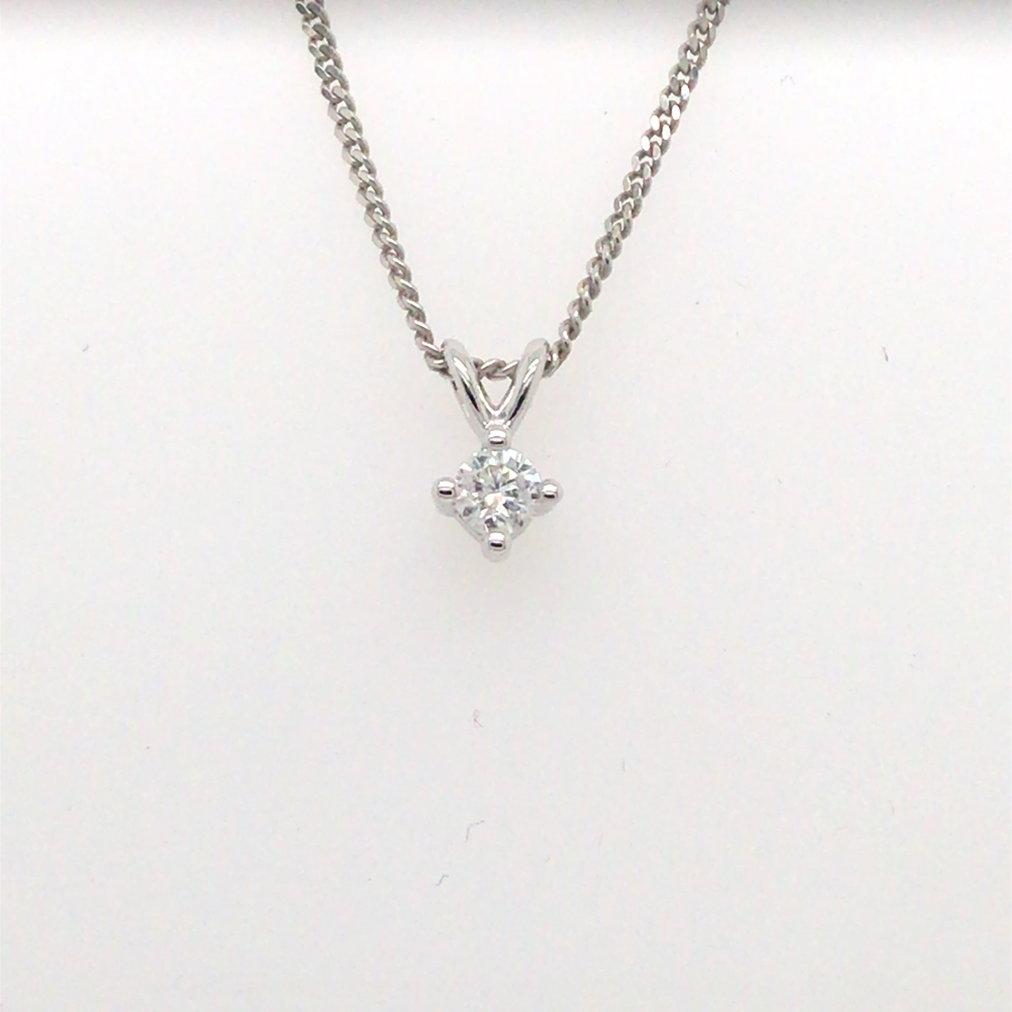 9ct White Gold 0.10ct Diamond Solitaire Pendant