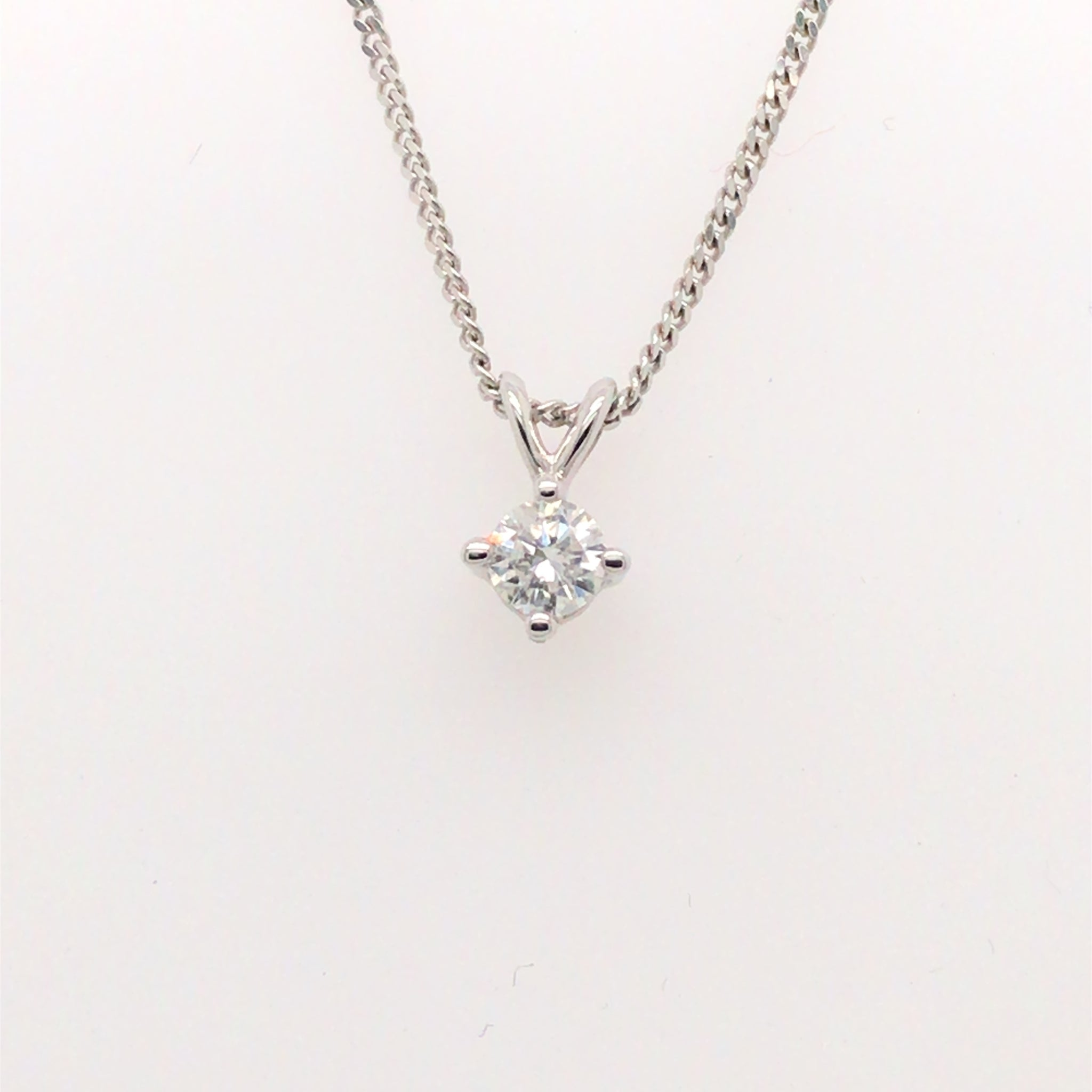 9ct White Gold 0.20ct Diamond Solitaire Pendant