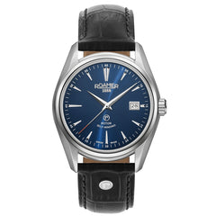 roamer searock classic automatic gents stainless steel blue dial strap watch