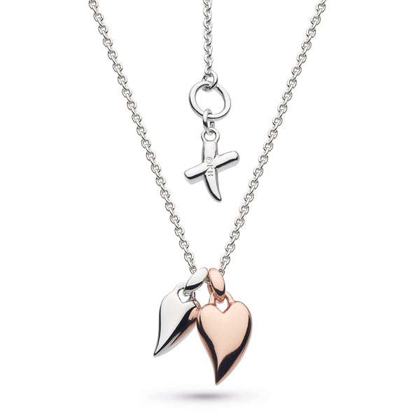 Kit Heath Desire Kiss Twinned Mini Hearts Rhodium and Rose Gold Plate Necklace