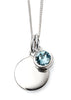 March Birthstone Sterling Silver Disc & Chain