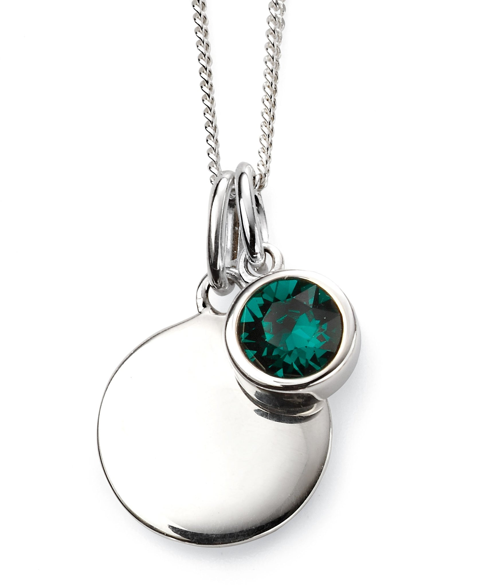 May Birthstone Sterling Silver Disc & Chain