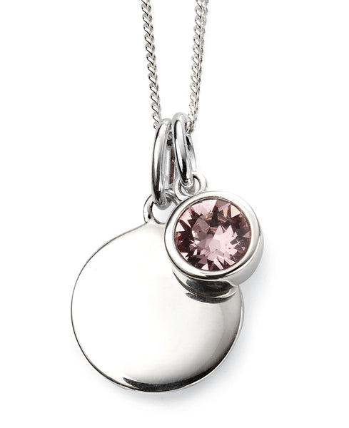 June Birth Stone Sterling Silver Disc & Chain