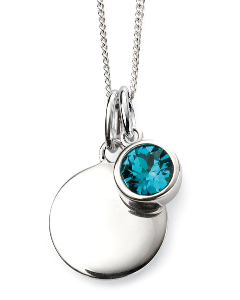December Birth Stone Sterling Silver Disc & Chain