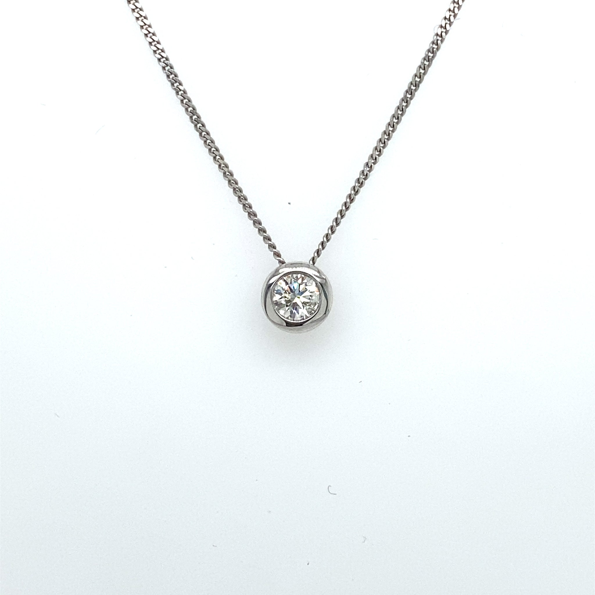 9ct White Gold 0.25ct Diamond Rub-over Pendant