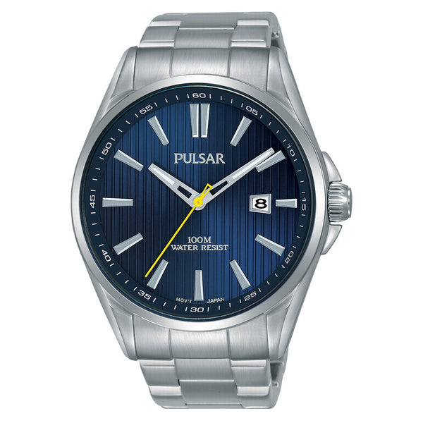 pulsar quartz gents stainless steel blue dial bracelet watch