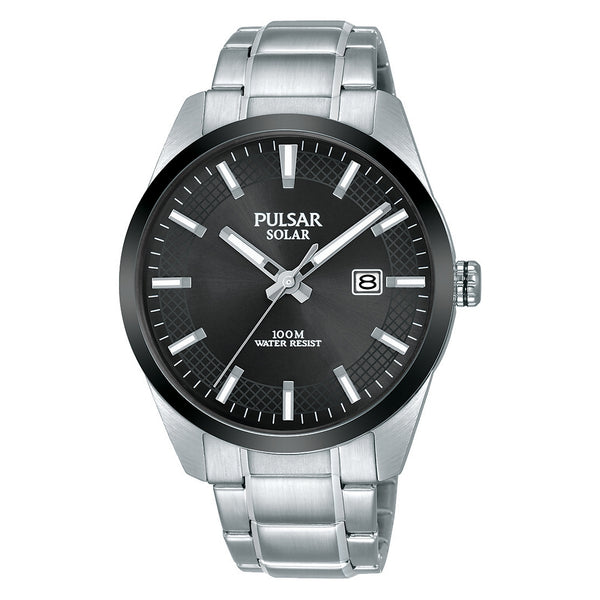 pulsar solar gents stainless steel black dial bracelet watch