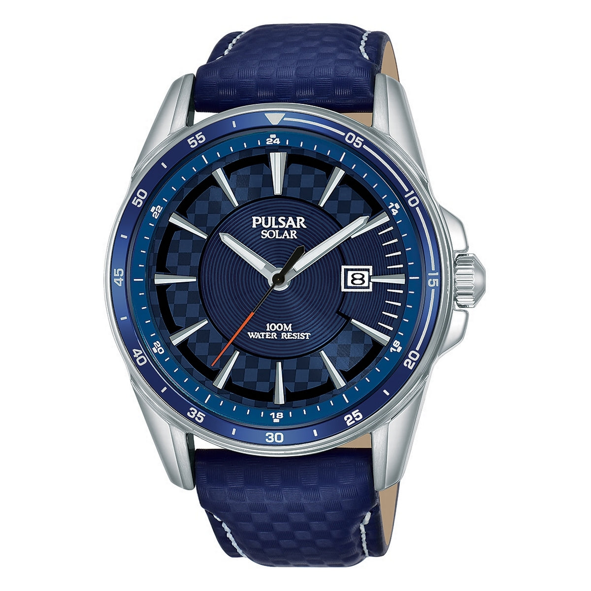 pulsar solar gents stainless steel blue strap watch