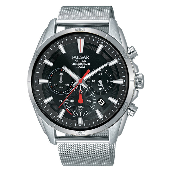 pulsar solar gents chronograph black dial stainless steel mesh bracelet watch