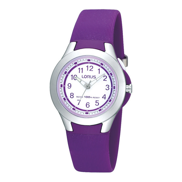 lorus quartz kids purple silicone white dial strap watch