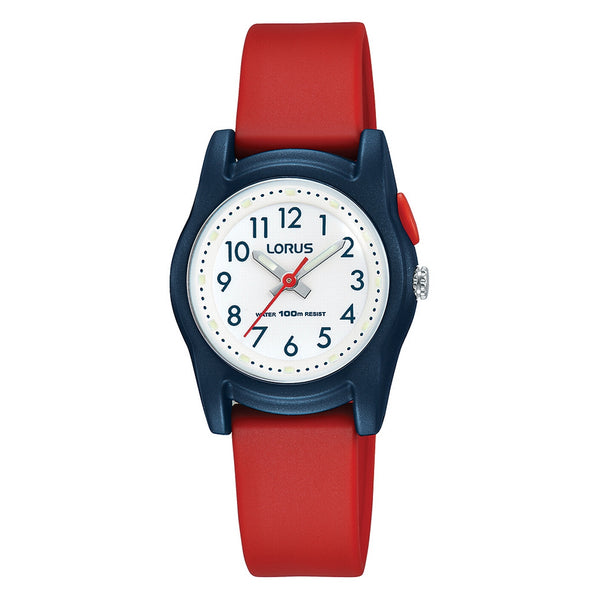 lorus quartz kids white dial red rubber strap