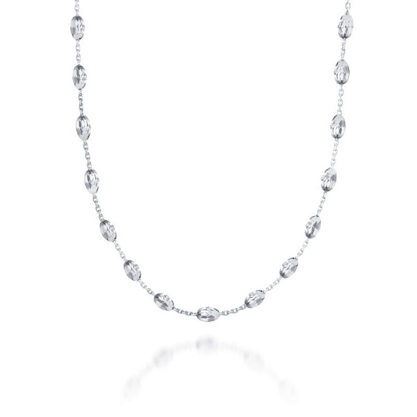 LIBERO 66cm silver plated necklace with silver beads