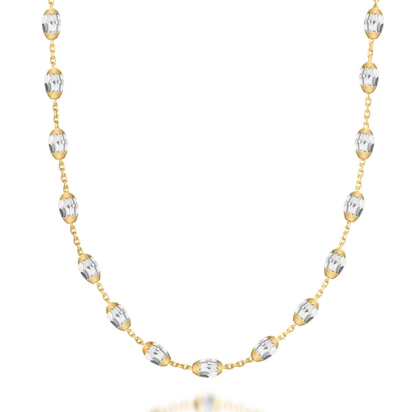 LIBERO 66cm gold plated necklace with silver beads