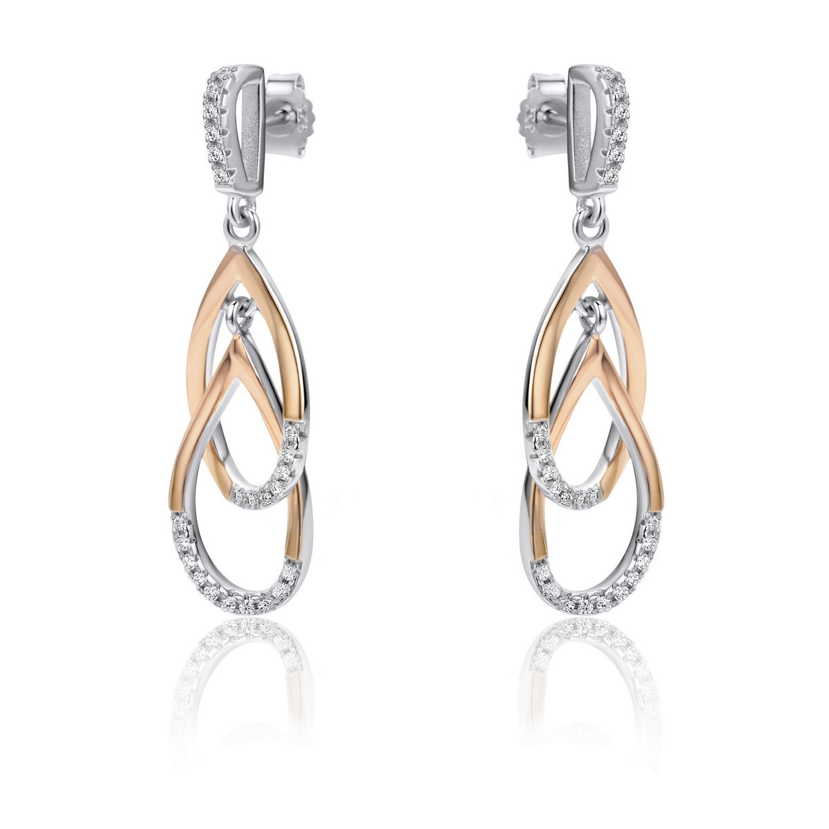 Real Effect Partially Stoneset Gold Cubic Zirconia Interlocking Drop Earrings in Sterling Silver