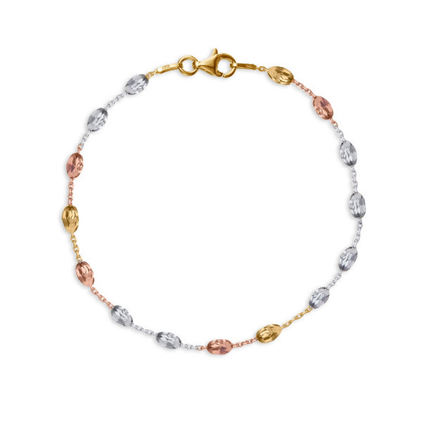 19cm bracelet with rose, yellow gold and silver beads