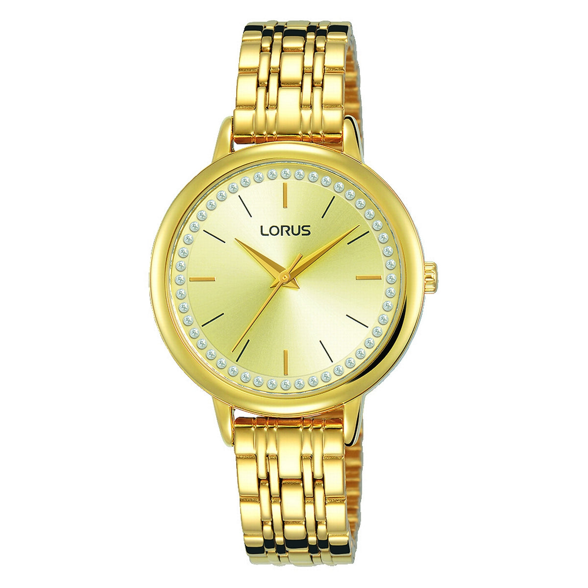 lorus quartz ladies gold plated champagne dial bracelet watch