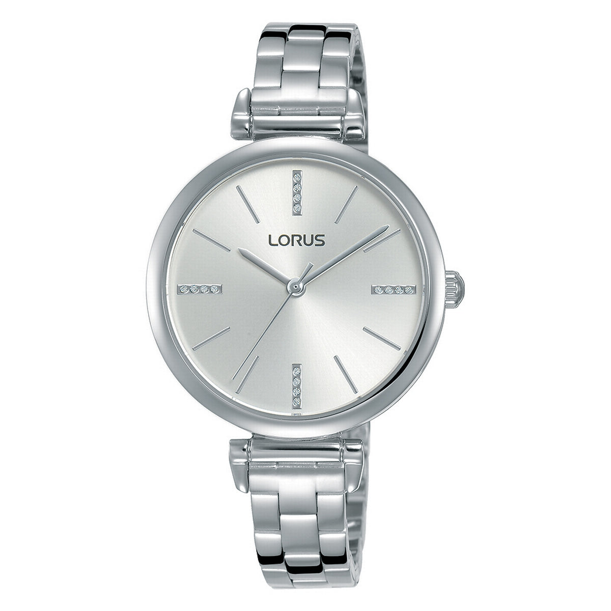 lorus quartz ladies stainless steel white dial bracelet bracelet watch
