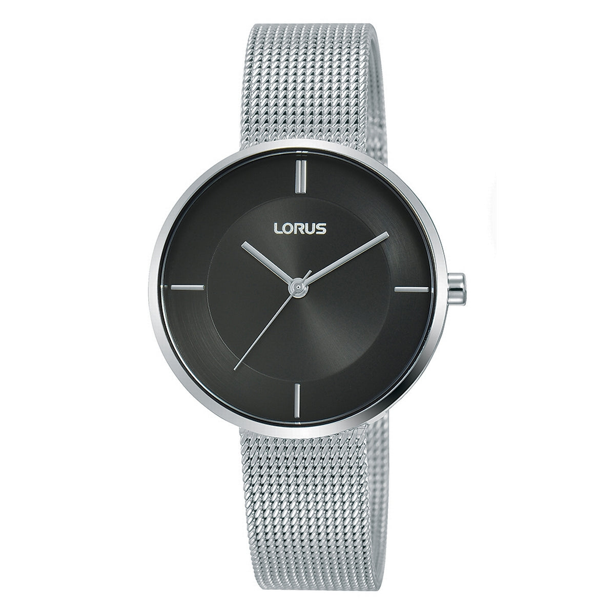 lorus quartz ladies stainless steel black dial mesh bracelet watch
