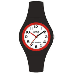 lorus youth black silicone watch with fulll figure display and white dial