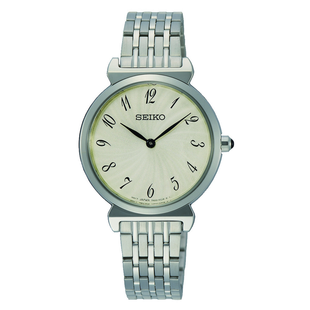 seiko quartz ladies stainless steel cream dial bracelet watch
