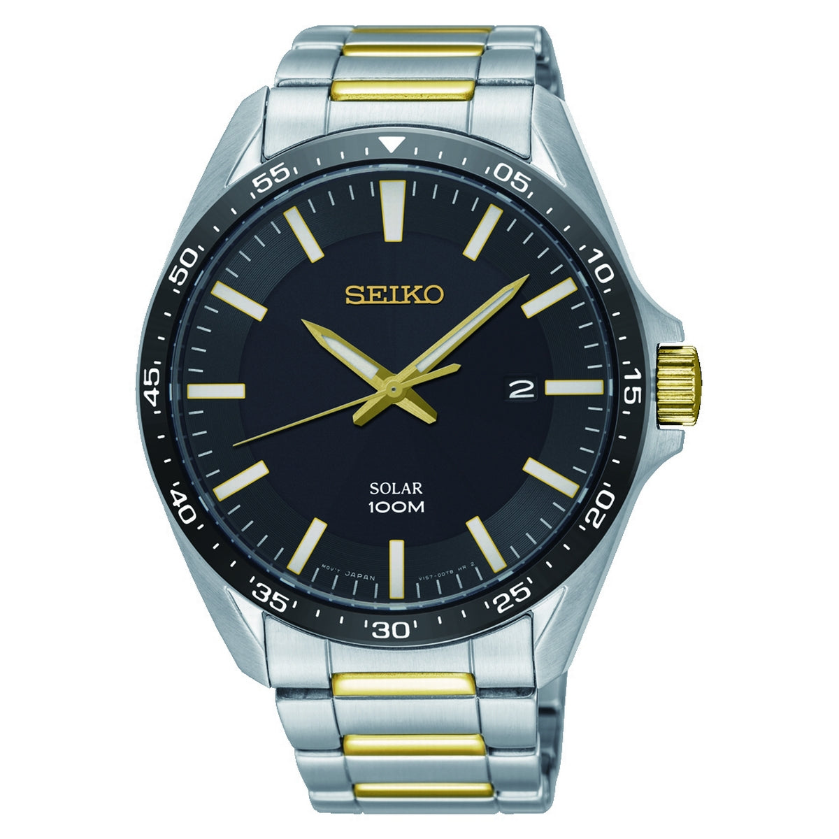 seiko solar gents two tone stainless steel black dial bracelet watch