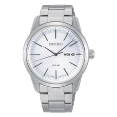 seiko solar gents stainless steel white dial bracelet watch