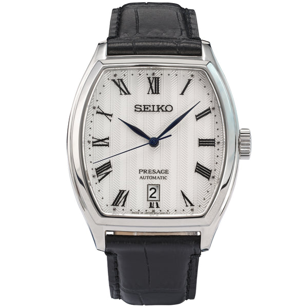 seiko presage automatic stainless steel white dial strap watch