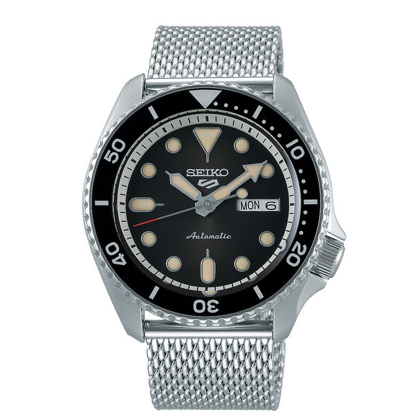 seiko 5 automatic black dial stainless steel mesh bracelet watch