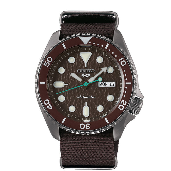 seiko 5 automatic brown dial brown nato strap watch