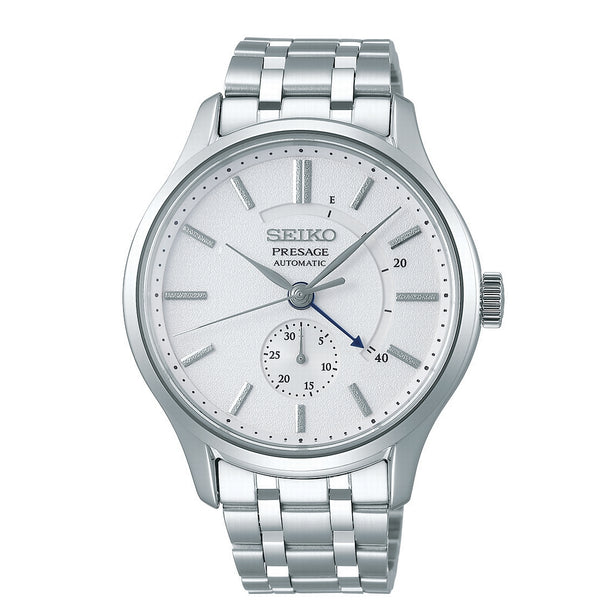 seiko presage automatic stainless steel white dial bracelet watch